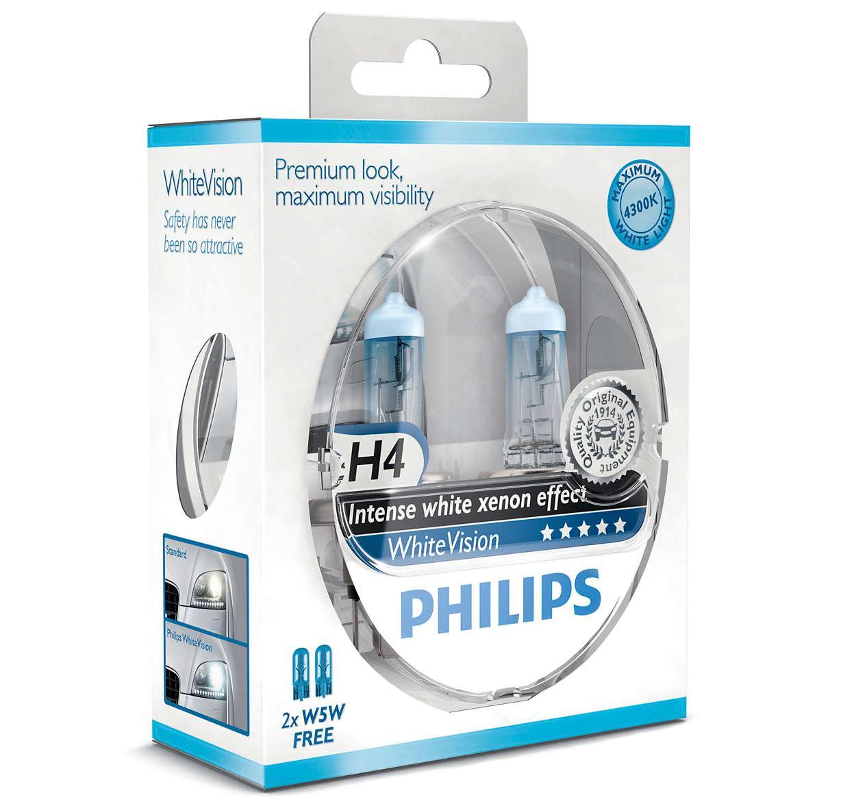 Автолампа PHILIPS 12342WHVSM H4 60/55W 12V P43t WhiteVision +60%(3700K)
