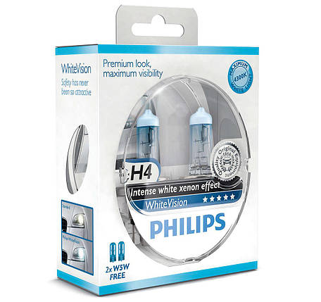 Автолампа PHILIPS 12342WHVSM H4 60/55W 12V P43t WhiteVision +60%(3700K), фото 2