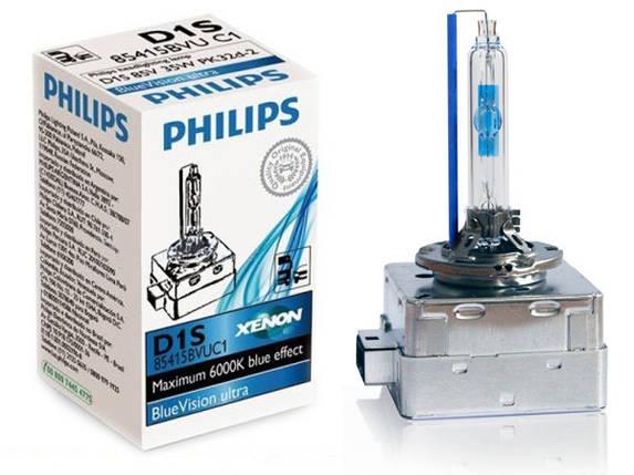 Автолампа ксенон PHILIPS 85415BVUC1 D1S 85V 35W PK32d-2 BlueVisionUltra , фото 2