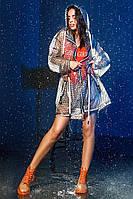 Стильный женский плащ - дождевик в горошек с капюшоном