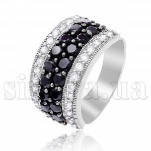 Серебряное кольцо Черно белое с фианитом 12604