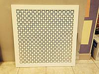 Экран на радиаторы из перфорированного МДФ Омега Белый 690*690мм