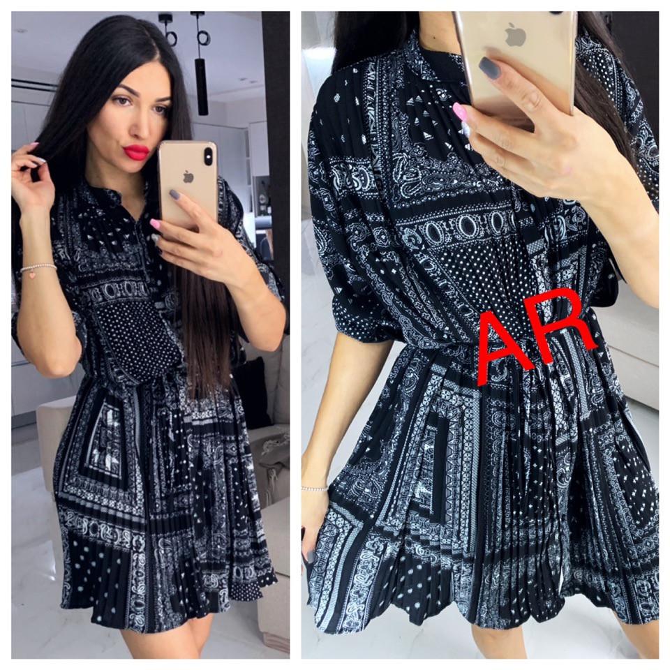 Платье, ткань: плисе.  Размер: 42-44. Цвет: темно-синий (6221)