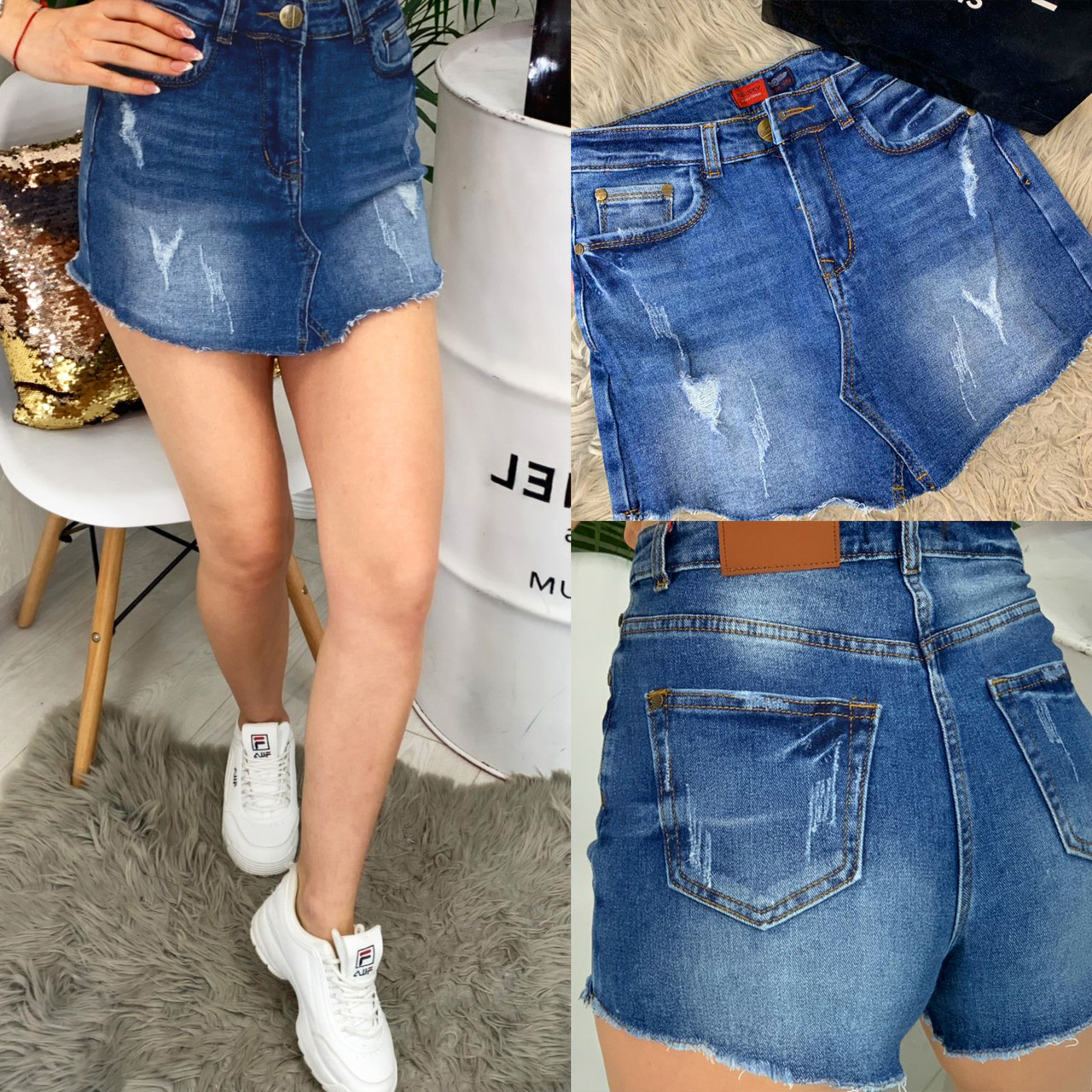 Шорты - юбка джинсовые с царапками ( A 0102-9 Relucky )