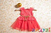 Платье детское нарядное коралловое (красное) для девочки 2-4 лет