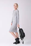 Красивое теплое платье (46-48, светло-серый меланж, 60% акрил/ 30% шерсть/ 10% эластан)