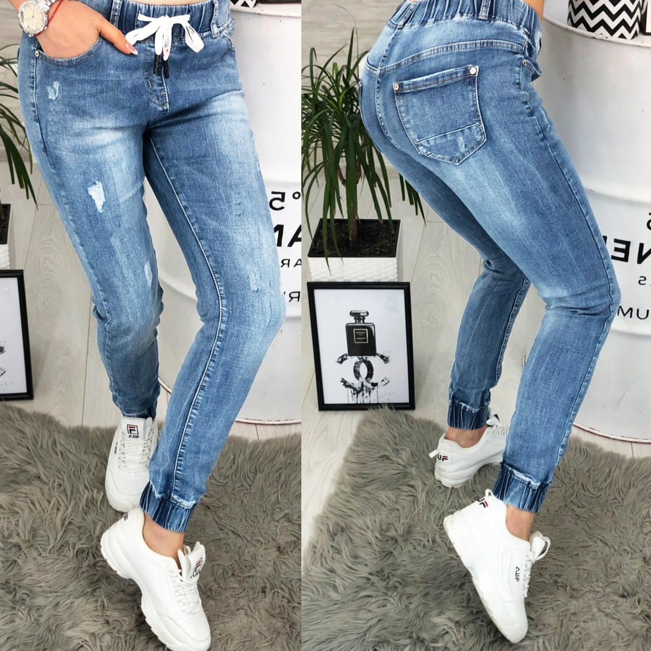 Джинсы женские на резинке с рванкой и царапками ( 2325 New jeans )