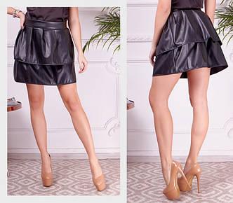 Женская стильная кожаная  весенне-осенняя мини юбка ( эко кожа высокого качества ) много модных цветов