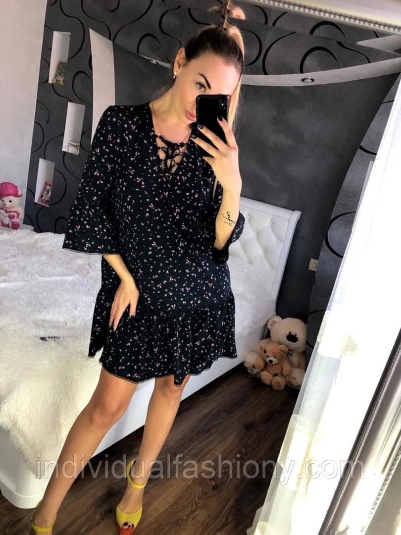 Платье с воланами и кружевом