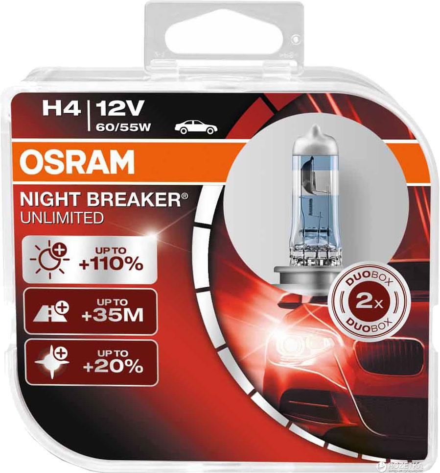 Автолампа OSRAM 64193NBU NightBreakerUnlimited +110% H4 60/55W 12V P43T 10X2 HardDuopet