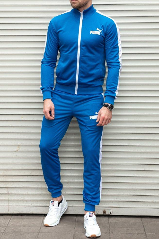 b0aab57c Мужской спортивный костюм Puma ярко синий без капюшона , трикотаж лакоста