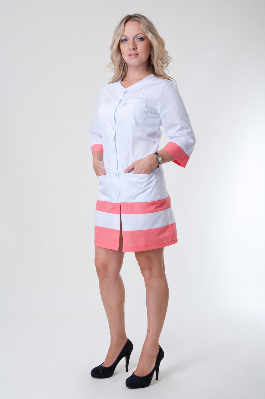 Медицинский халат женский с вставками (коралл) 2139 ( батист  40-56 р-р )