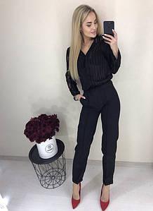 Женские стильные прямые  с завышенной талией брюки с карманами по бокам (3 цвета)