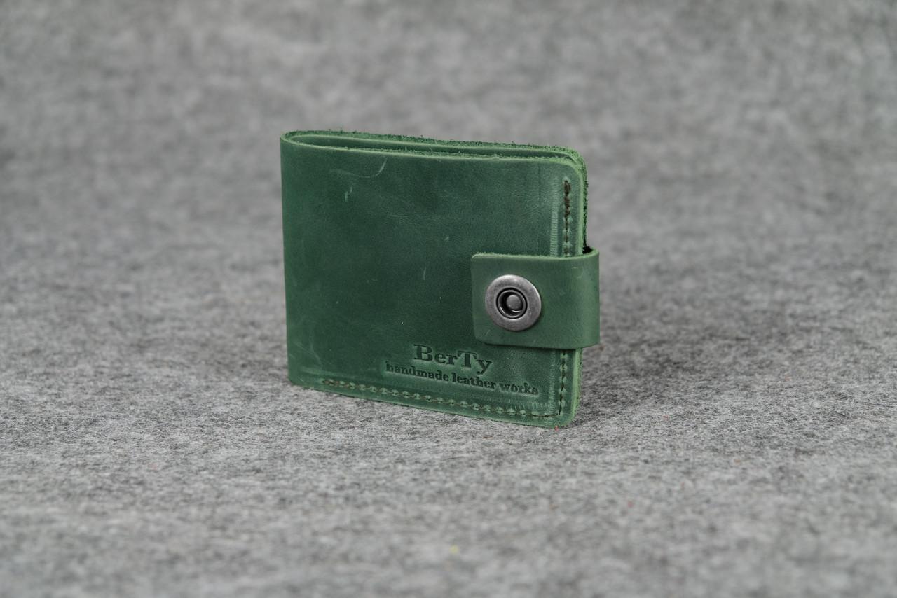 Классическое портмоне на 6 карт кожа винтаж Зеленый