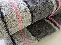 Полотенце лицевое махровое серое с розовым 90*50