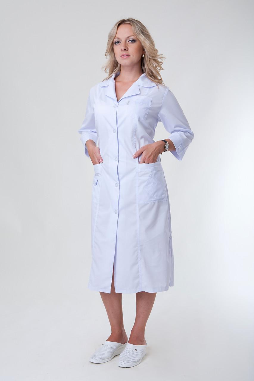 Удлиненный женский медицинский халат белого цвета 2132 ( батист 50-66 р-р)
