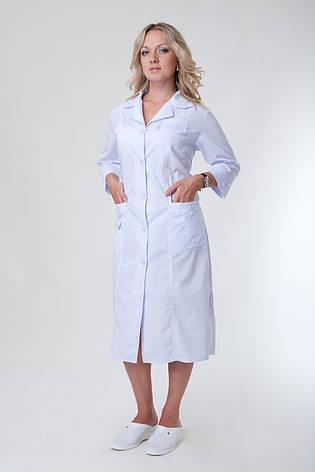 Удлиненный женский медицинский халат белого цвета 2132 ( батист 50-66 р-р), фото 2
