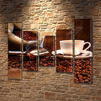 Модульная картина Кофейные зерна и чашка кофе (мешок) на Холсте син., 80x100 см, (80x18-2/55х18-2/40x18)
