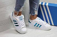 Кроссовки женские белые с зелеными полосками Adidas Superstar 6359