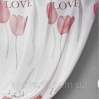 """Тюль печать """"Тюльпан"""" розовый"""