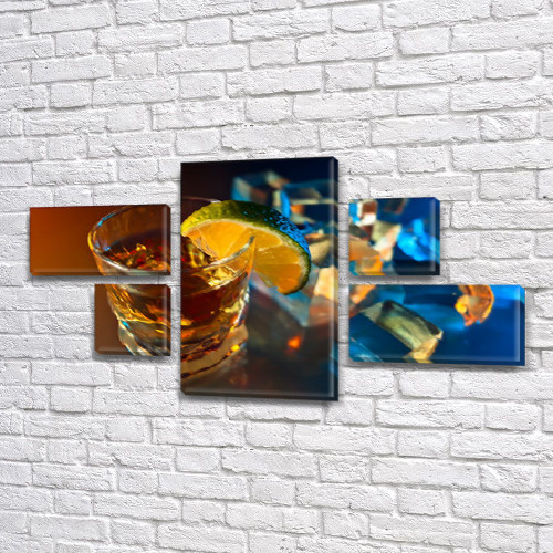 Модульная картина Виски и лайм, стакан, коктейль, алкоголь, на Холсте син., 60x110 см, (18x35-2/18х18-2/60x35)