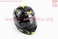 Шлем закрытый ROOKIE ATMOS FF352 ХXL - ЧЕРНЫЙ с рисунком серо-желтым
