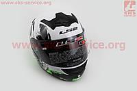 Шлем закрытый ROOKIE ONE FF352 XL - БЕЛЫЙ с рисунком черно-зеленым