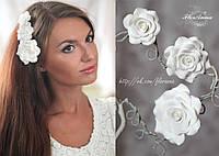 """""""Розы"""" комплект заколок для волос с цветами из полимерной глины"""