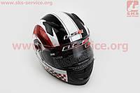 Шлем закрытый CHRONO II FF358 XL - БЕЛЫЙ с рисунком красно-черным