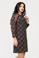 Платье S-9015 Клетка коричневая