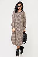 Платье S-9018 Бежево-коричневый