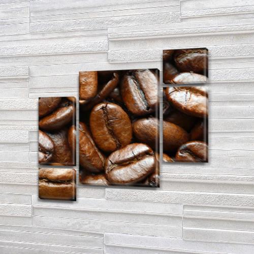 Модульная картина Кофейные зерна (крупный план) на Холсте син., 85x85 см, (40x20-2/18х20-2/65x40)