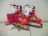 """Раздвижные роликовые коньки Profi Roller """"Динозаврики"""" красные 32-35 р. Размер стельки: 18-21 см, фото 1"""