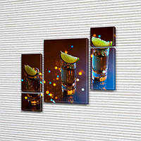 Модульная картина Текила и лайм, стопки, алкоголь, вечеринка на Холсте син., 85x85 см, (40x20-2/18х20-2/65x40)