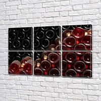 Модульная картина Винные бутылки (вино, стекло, абстракция), на Холсте син., 52x80 см, (25x25-6)
