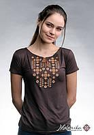 Стильна коричнева жіноча футболка із вишивкою «Зоряне сяйво», фото 1