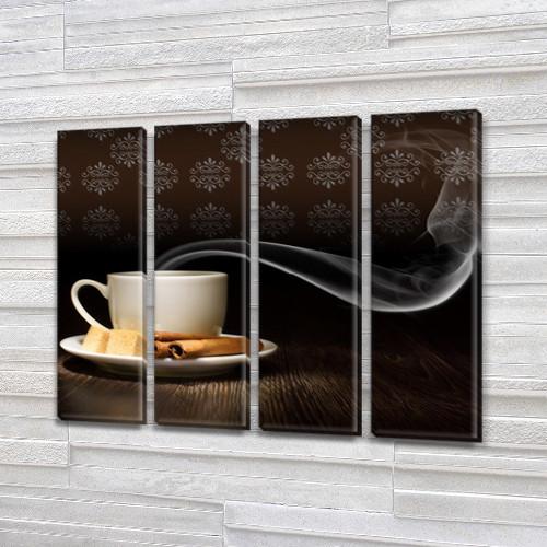 Модульная картина Ароматный кофе утром, на Холсте син., 65x80 см, (65x18-4)