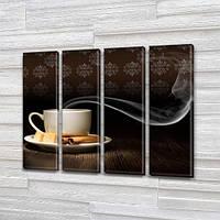 Модульная картина Ароматный кофе утром, на Холсте син., 65x80 см, (65x18-4), фото 1