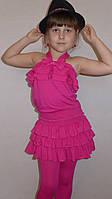 Летний костюмчик юбка с лосинками+кофточка(малинка)               чка(коралл)