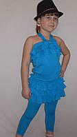 Летний костюмчик юбка с лосинкаминка+кофточка(голубой)             чка(коралл), фото 1