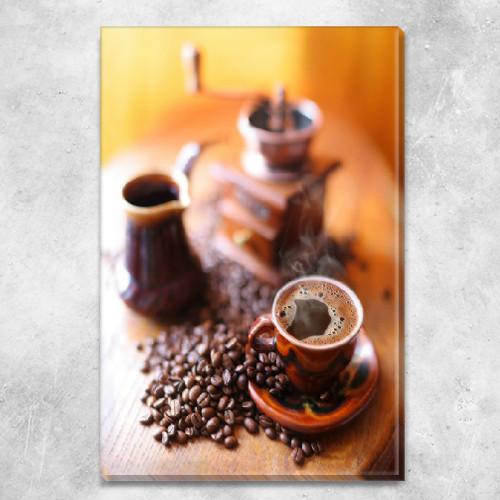 Модульная картина Кофейная гармония (кофе, чашка, турка, кофемолка, зерна), на ПВХ ткани, 45х30 см