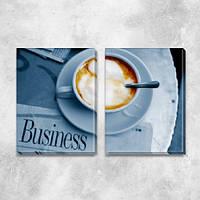 Модульная картина для офиса Утренний кофе (чашка и газета), на ПВХ ткани, 45х63 см, (45х30-2), фото 1
