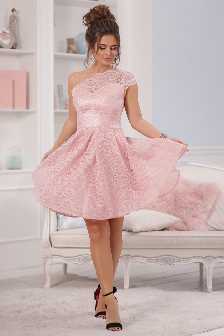 """Нарядное платье на одно плечо """"ЮНОНА"""" с гипюром и фигурным вырезом (3 цвета)"""