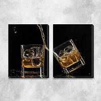 Модульная картина Виски со льдом (брызги, стаканы, алкоголь), на ПВХ ткани, 45х63 см, (45х30-2)