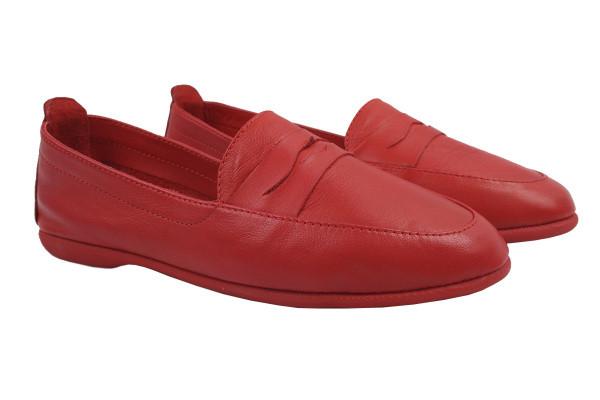 Туфли женские на низком ходу из натуральной кожи, цвет красный (39р.)