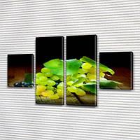 Модульная картина Зеленый и синий виноград на досках на Холсте, 80x130 см, (40x30-2/80х30-2)