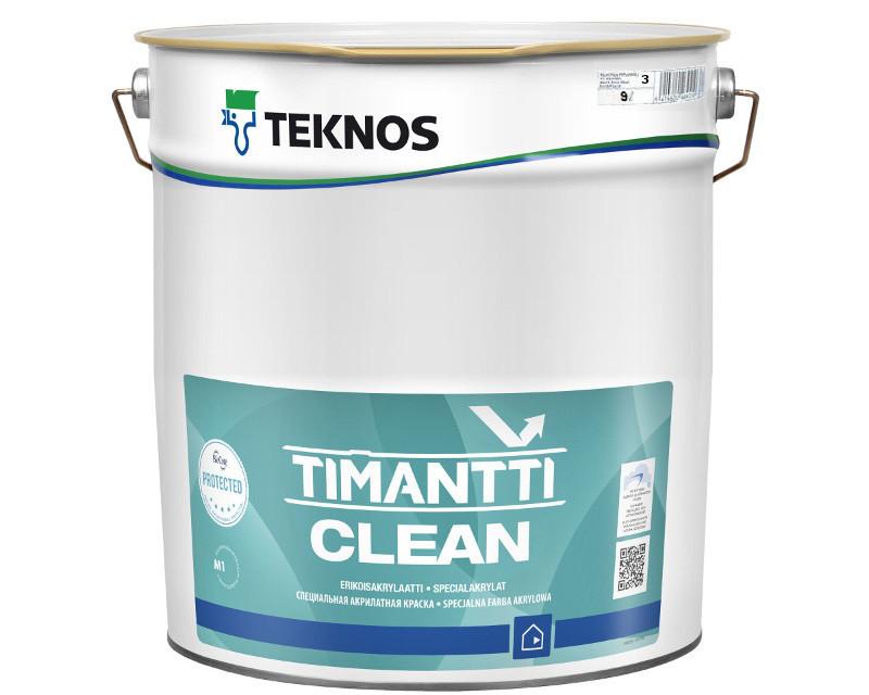 Водорозчинна фарба для стін та стелі Teknos Timantti Clean, 18 л
