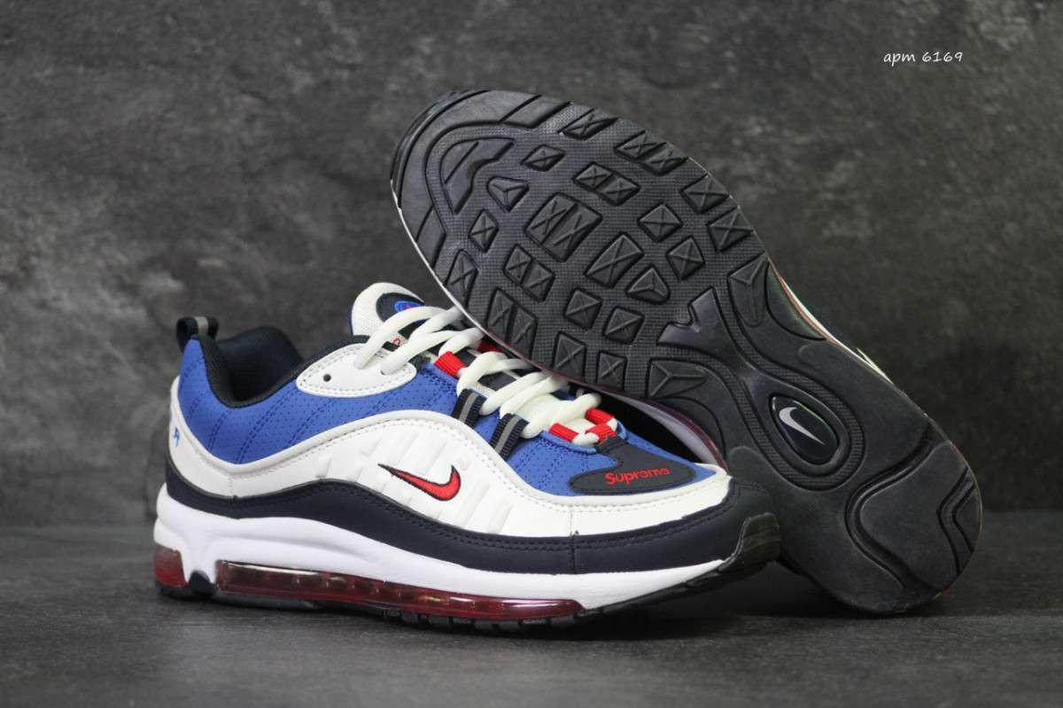 8ee32f1a Кроссовки мужские белые с синим Nike Air Max 98 x Supreme 6169 ...