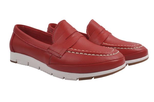 Туфли комфорт женские на низком ходу Gossi натуральная кожа, цвет красный, Турция.