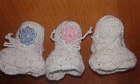 Вязаные детские  пинетки хлопок ручная работа, фото 1